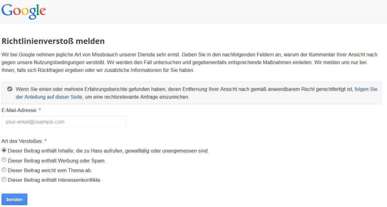 Richtlinienverstoß bei Google MyBusiness melden